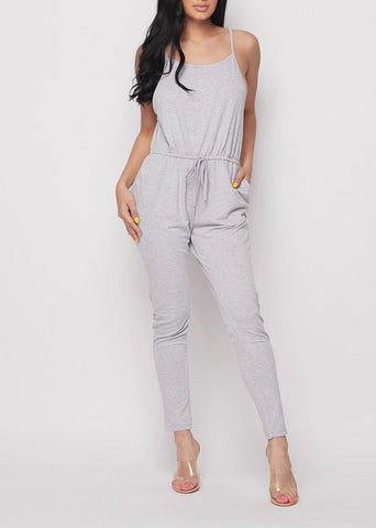Ashen Camisole Drawstring Jersey Jumpsuit