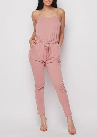 Blush Camisole Drawstring Jersey Jumpsuit