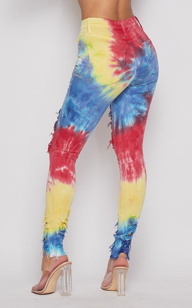 Circus Tie Dye  High Waist Distressed Jeans