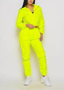 Yellow Neon Windbreaker Tracksuit Pants Set