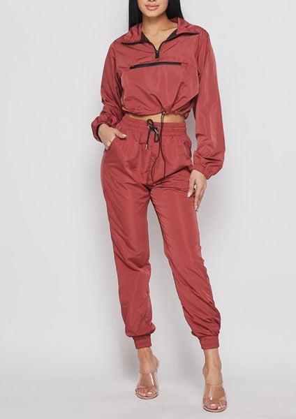 Coral Red Pullover Windbreaker Tracksuit