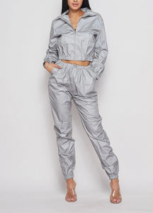 Reflective Gray Windbreaker Tracksuit Set