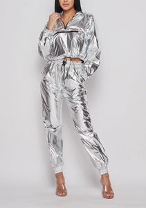 Metallic Silver Pullover Tracksuit
