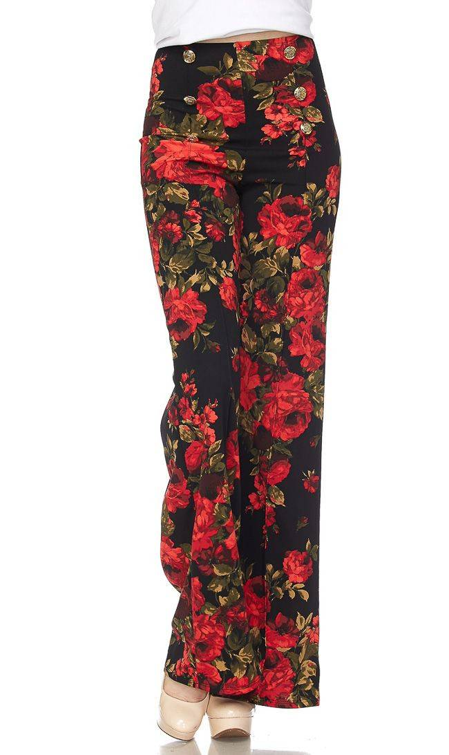 Red Floral Six Button Palazzo Pants