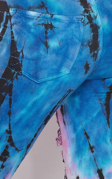 Bamboo Tie Dye Vibrant High Waist Distressed Jeans