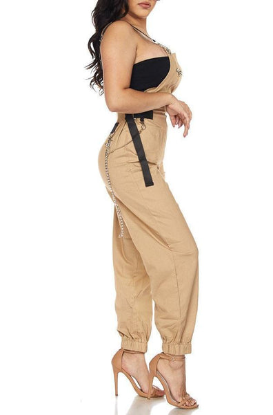 Relaxed Fit Overalls With Chain Detail