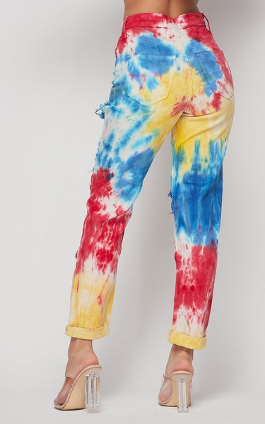 Circus Tie Dyed And High Waisted Jeans