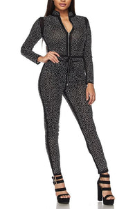 Shimmery Black With Silver Rhinestone Jumpsuit