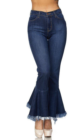 High Waisted Flared Bell Bottom Dark Denim Pants