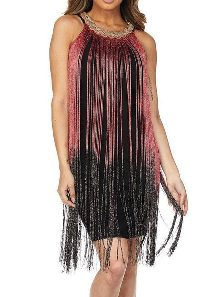 Shift Overlay Fringe Dress