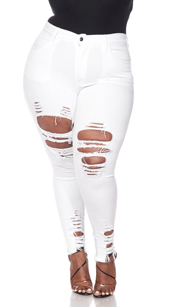 White Plus Size Ankle Skinny Jeans