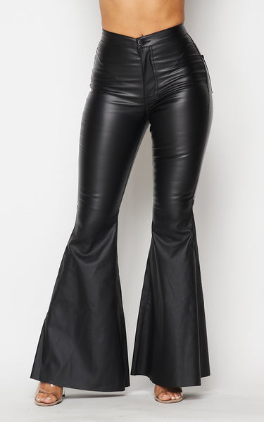 Earthas Faux Leather Bell Bottom Pants