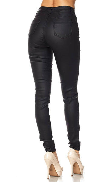 framboise fashions Faux Leather High Waisted Stretchy Skinny Jeans in Black