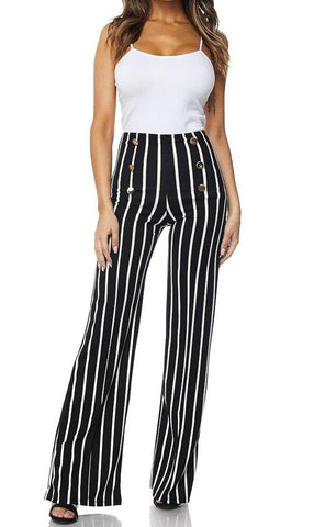 Sailor Inspired Six Button Palazzo Pants