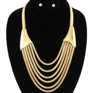Multilayered Triangle Gold Necklace Set