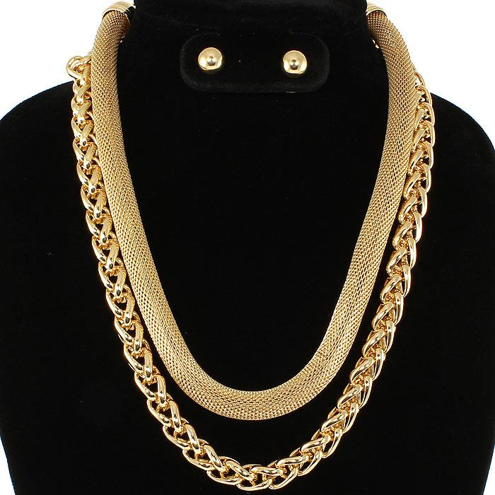 Double Take Gold Necklace Set