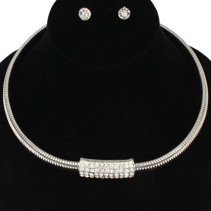 Rhinestones and Studdin Silver Choker Set