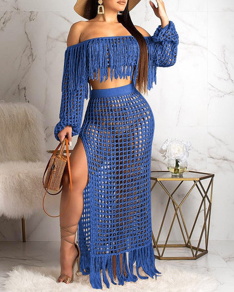 2-Piece Tasseled and Showing Out