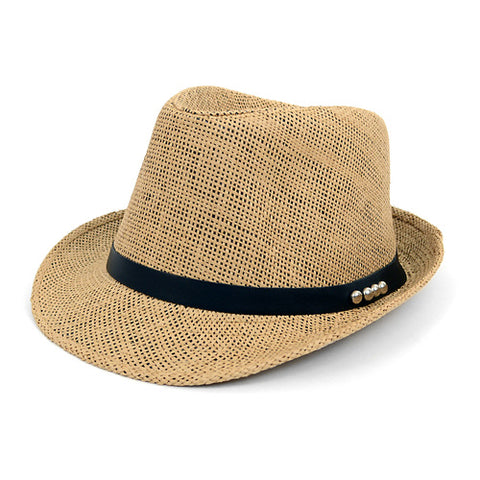 Classic Woven Fedora with Black Band and Gold Accents