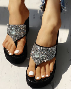 Studded Wedged In Black