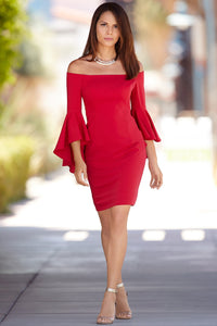 Flaring Hot Red Off Shoulder Flare Sleeve Dress