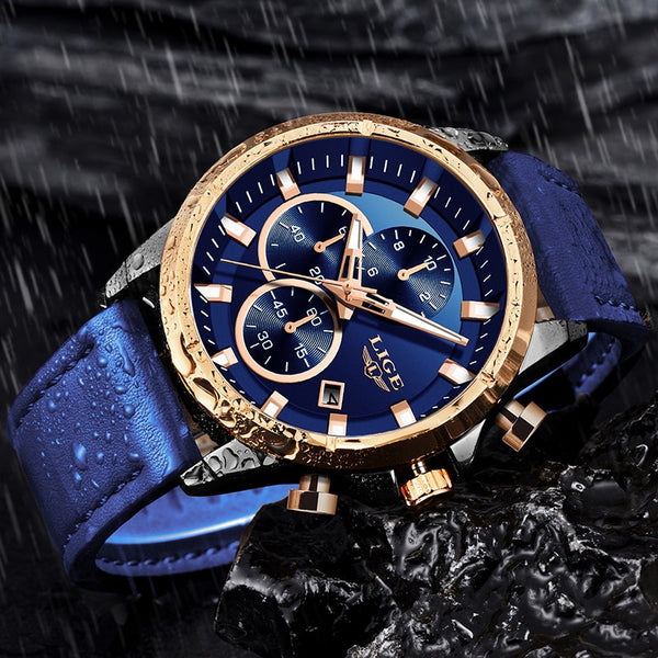 Blue Magic Luxury Waterproof Gold Watch