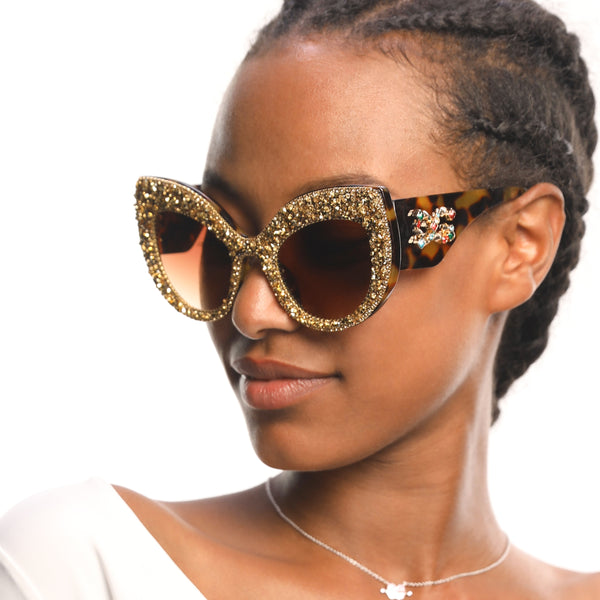 Cat Eyed And Crystallized Sunglasses