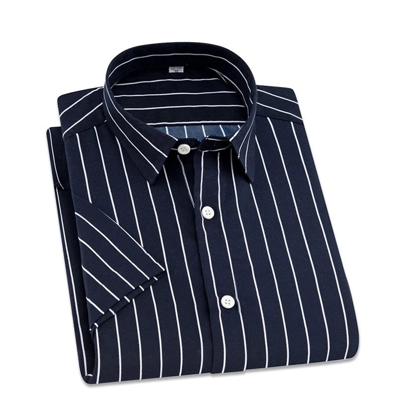 Navy Blue and White Striped Long Sleeve Casual Dress Shirt
