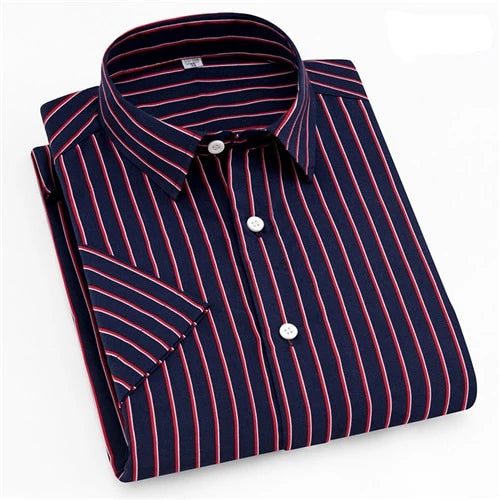 Red White & Blue Striped Short Sleeve Casual Dress Shirt