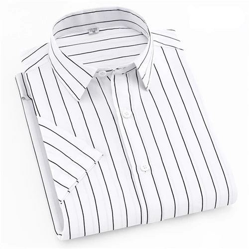 White and Black Striped Long  Sleeve Casual Dress Shirt