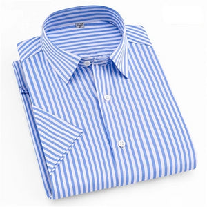 Sky Blue And White Striped Long Sleeve Casual Dress Shirt