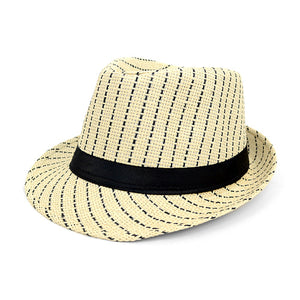 Cream and Black Striped Fedora with Black Band