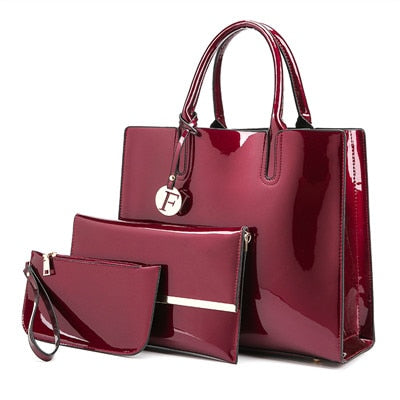 Fiona 3-Piece Patent Leather Tote Set