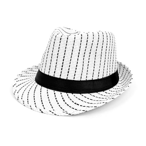 White and Black Striped Woven Fedora with Black Band
