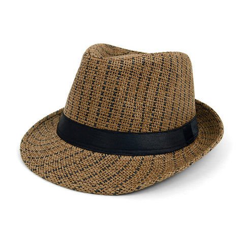 Brown and Black Striped Woven Fedora with Black Band