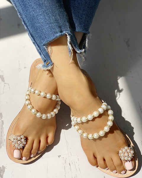 Swirlin' In Pearls Flat Sandals