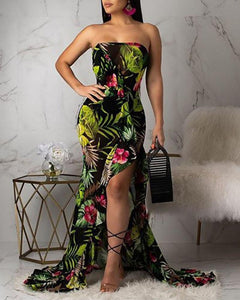 Jungle Gem Floral Off Shoulder Sleeveless Maxi Dress