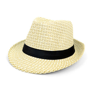 Cream Twill Weave Fedora With Black Band