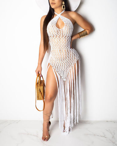 Crocheted Open Back Tassel Cover Up Dress