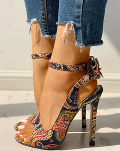 Butterfly Bow Printed heels