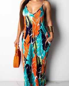 Spaghetti Strapped Leaf Printed Maxi Dress