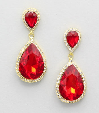 Crystal Teardrop Evening Earrings