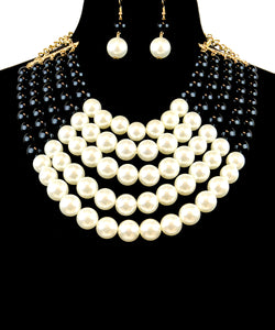 Two Tone Layered Pearl & Bead Necklace Set