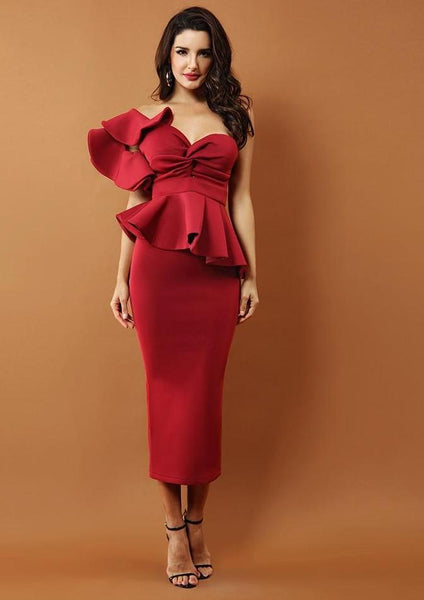 Strapless One Shoulder Ruffle Dress