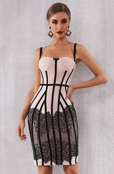 Look But Don`t Touch Black & White  Spaghetti Strap Sleeveless Party Dress