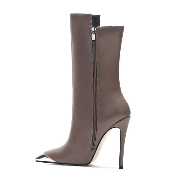 Brown Cream Womens Stiletto Boots With Metal Toe