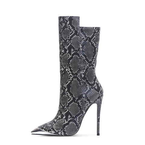 Grey Boas Snake Stiletto Boots With Metal Toe