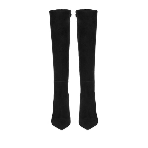 Back To Black Womens Faux Suede Knee High Boots