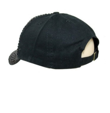 Black Bling Stone Studded Distressed Cap