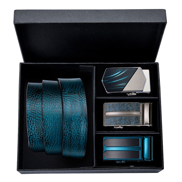 Teal Blue Three Buckle Leather Belt Box Set